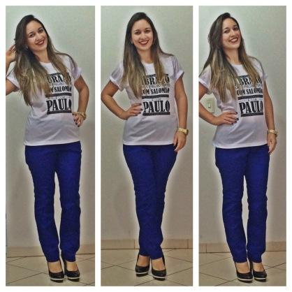 Calça azul (Forever 21) | Meia Pata Preta (Forever 21)