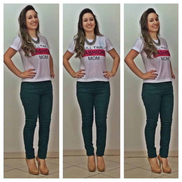 Calça jeans verde musgo (Forever 21) | Meia Pata Nude (Arturo Chiang)