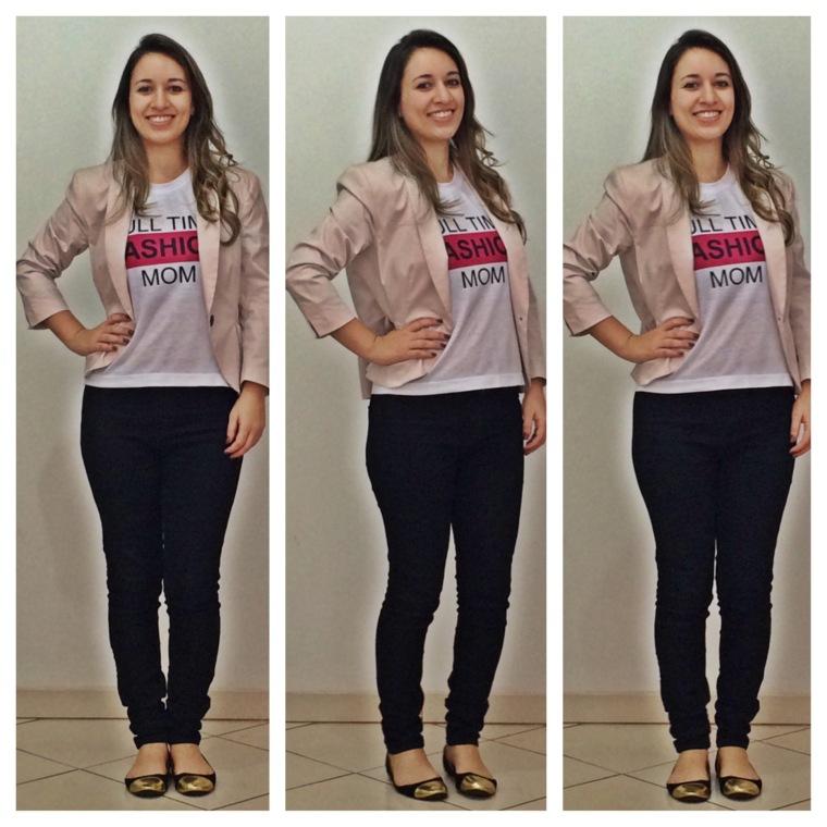 Blazer Rosé (H&M) | Calça Jeans Preta (Forever 21) | Sapatilha Ponteira (H&M)